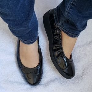 Fitflop FF2 Black Patent Ballet Flats Shoes 38.5